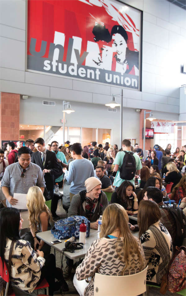 Students dining at the student union