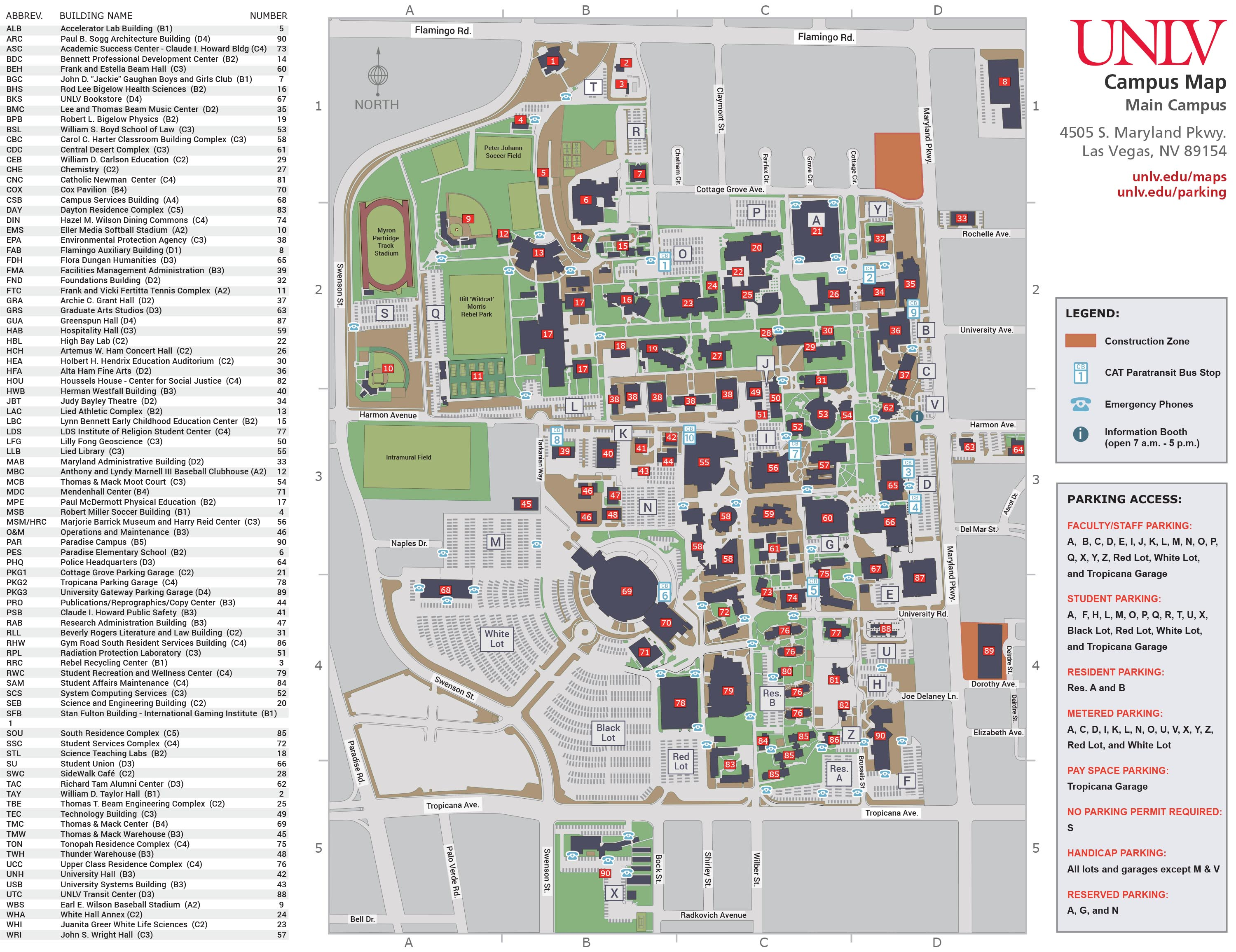 CAMPUS MAP | UNLV Online Visitor's Guide